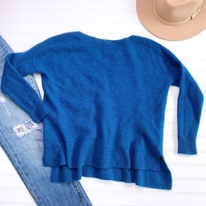 CYNTHIA ROWLEY blue high neck cashmere sweater